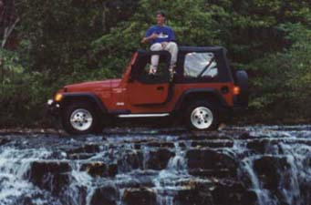 Jeep on Waterfall